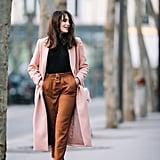 A Long Pink Coat, Black Turtleneck, Cigarette Trousers, and Heels