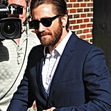 Jake Gyllenhaal headed into the studio for an appearance on Late Show With David Letterman.