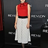 Olivia Wilde was in NYC for a press day with Revlon.