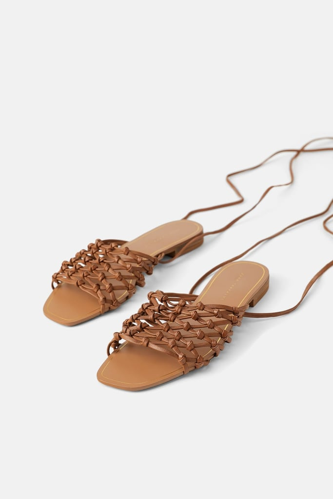 Braided Flat Leather Sandals With Ties | Best Zara Sandals