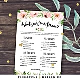 What's on Your Phone Printable Bridal Shower Game
