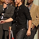 Taylor Lautner made his way to the podium in front of Grauman's Chinese Theater.