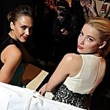 Jessica was seated next to actress Amber Heard.
