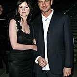 Gerard Butler stuck close to Emily Mortimer at the third annual Tribeca Film Festival Vanity Fair party in May 2004.