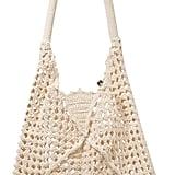 Nannacay Luna Leather-Trimmed Crocheted Cotton Shoulder Bag