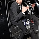 Hugh Jackman gave the thumbs-up to photographers as he left the Chateau Marmont in LA.
