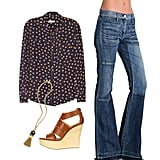 Play up the bohemian-chic look for the workday with a pair of flared jeans — not only are they a great alternative to your signature skinnies, but they also have a cool Janis Joplin vibe that's perfect for the season. Wear them with a printed blouse (tucked in!) and cognac-colored wedges for a look that's office-appropriate without being too serious. Get the Look:  Equipment Brett Fruit-Print Silk Top ($230) Citizens Of Humanity Riviera Vintage Patchwork Flare Jeans ($229) Serafini Leather Etoile Wedges ($303) Tory Burch Perez Tassel Necklace ($225)