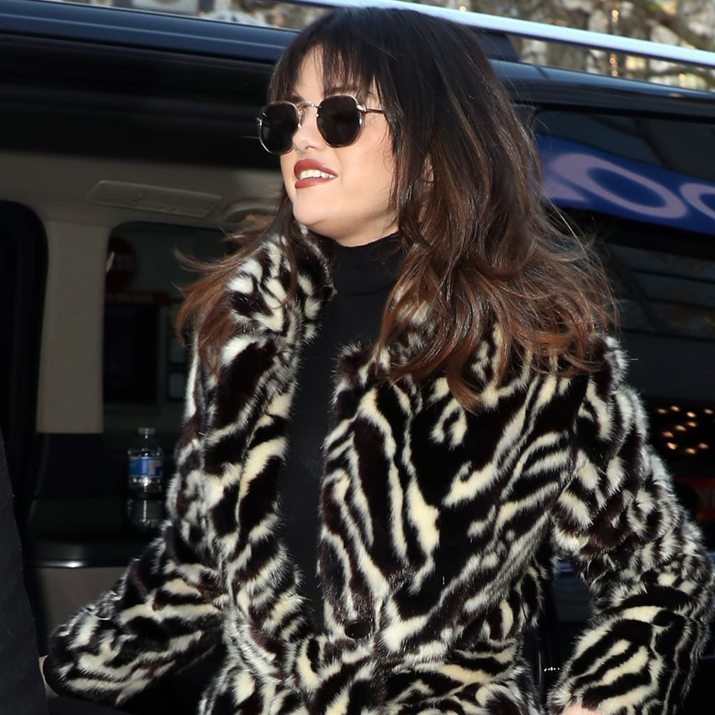 Selena Gomez's Mango Zebra Coat and Burberry Leopard Coat