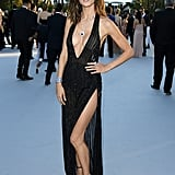 All eyes were likely on Alessandra Ambrosio in a black see-through Redemption dress with a plunging neckline and high slit in 2016.