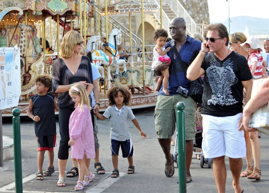 Heidi Klum and Seal take their children out for ice-cream and a ride on the merry-go-round in Nice, France