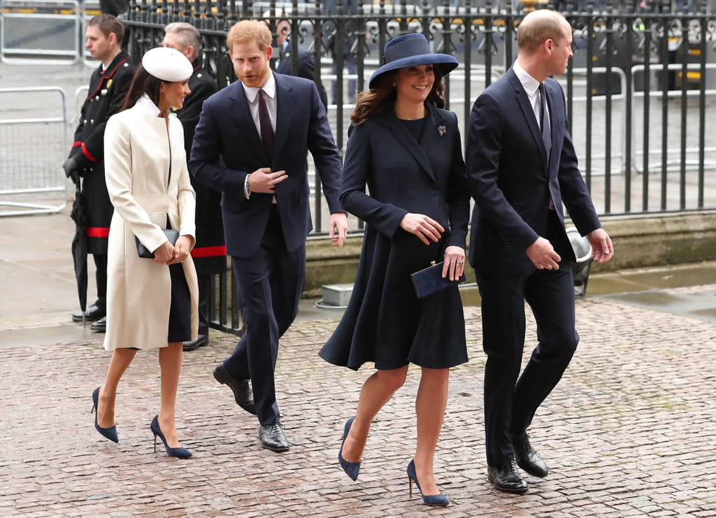 "It's been reported that Meghan Markle has had a hard time understanding some of the stuffy rules that come with being a member of the British royal family — she's even broken a few already! But for the most part, Meghan has embraced royal etiquette, quickly mastering the Duchess slant and opting to wear pantyhose in the months since her wedding to Prince Harry.  Her Duchess status also means she must take a step back when she's in the presence of many of her new in-laws. Of course, no one walks in front of Queen Elizabeth II, but Meghan must also stand behind her own sister-in-law, Kate Middleton. Regardless of their solid friendship, royal protocol dictates that since Meghan falls below the future queen consort in rank, she should allow Kate to walk and stand in front of her during official engagements.  This royal ""pecking order"" is why we've seen Meghan stand behind Kate on the balcony of Buckingham Palace, walk behind her and Prince William on their way into Westminster Abbey, and even enter Wimbledon after the Duchess of Cambridge. Technically, Meghan is even supposed to curtsy to Kate (though we don't often see the immediate family bow to royals other than the Queen)! The royal procession rule also applies to Prince Charles and Camilla as well as Prince William, but we have a feeling Meghan will continue to stand out regardless of where she's actually standing."