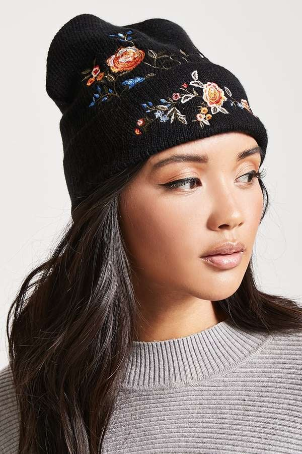 Forever 21 Floral Embroidered Beanie  874dd23e7b4