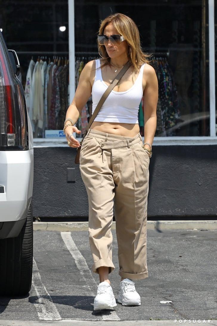 Jennifer Lopez Wearing Low-Rise Cargo Pants and Crop Top