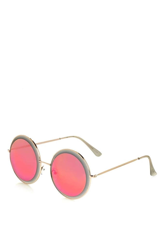 Have fun and go bright pink with this pair of oversize Topshop Bevelled Round Sunglasses ($38).