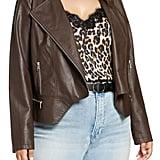 Halogen Peplum Faux Leather Moto Jacket (Plus Size)
