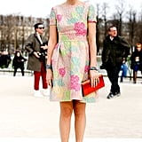Elisa Nalin showed off a pretty, multicolored day dress and coordinating heels.