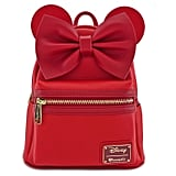 Loungefly x Red Minnie Ears & Bow Red Faux Leather Mini Backpack