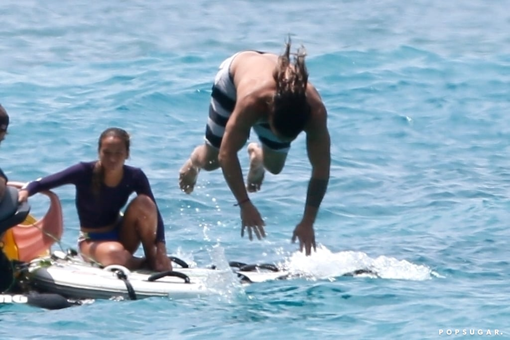 Can somebody please help Jason Momoa? On Friday, the Aquaman actor showed off his impressive diving skills when he had an impromptu diving session in Hawaii after he dropped his phone in the ocean. Jason had been hanging out on a jet ski with a group of friends when all of a sudden he found himself in the water looking for his phone. We sure hope he had some rice nearby!  The 38-year-old actor is currently gearing up for the release of his new Aquaman movie, which is slated to hit theaters sometime in December. The highly anticipated film also stars Amber Heard as Mera and Nicole Kidman as Aquaman's mother, Atlanna. Hopefully these photos will hold you over until then.       Related:                                                                                                           The Game of Thrones Cast Reunited, but All We're Focused on Is Daenerys and Khal Drogo