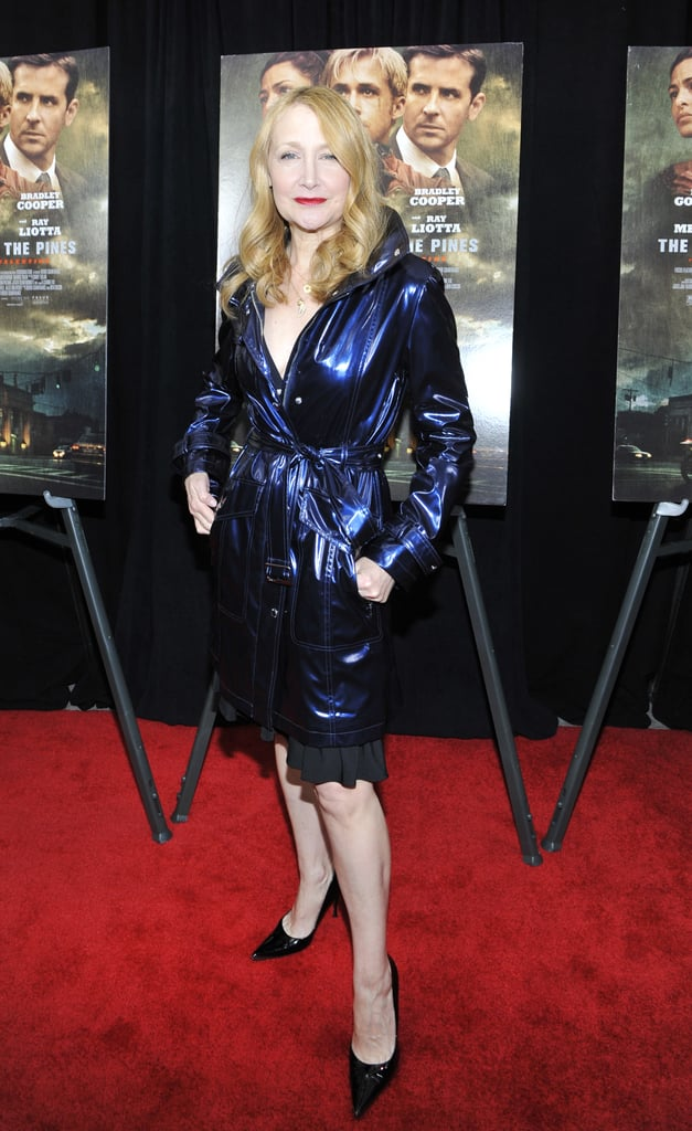 Patricia Clarkson wore a purple coat.