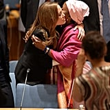 Angelina Jolie hugged a woman after meeting with the UN Security Council at its NYC headquarters.