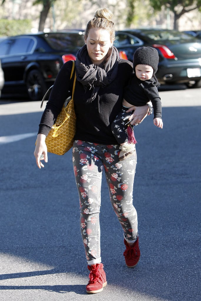 Hilary Duff dressed Luca Comrie in a warm hat.