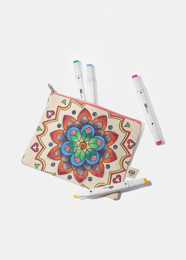 AOA Flower Sketch Canvas Pouch