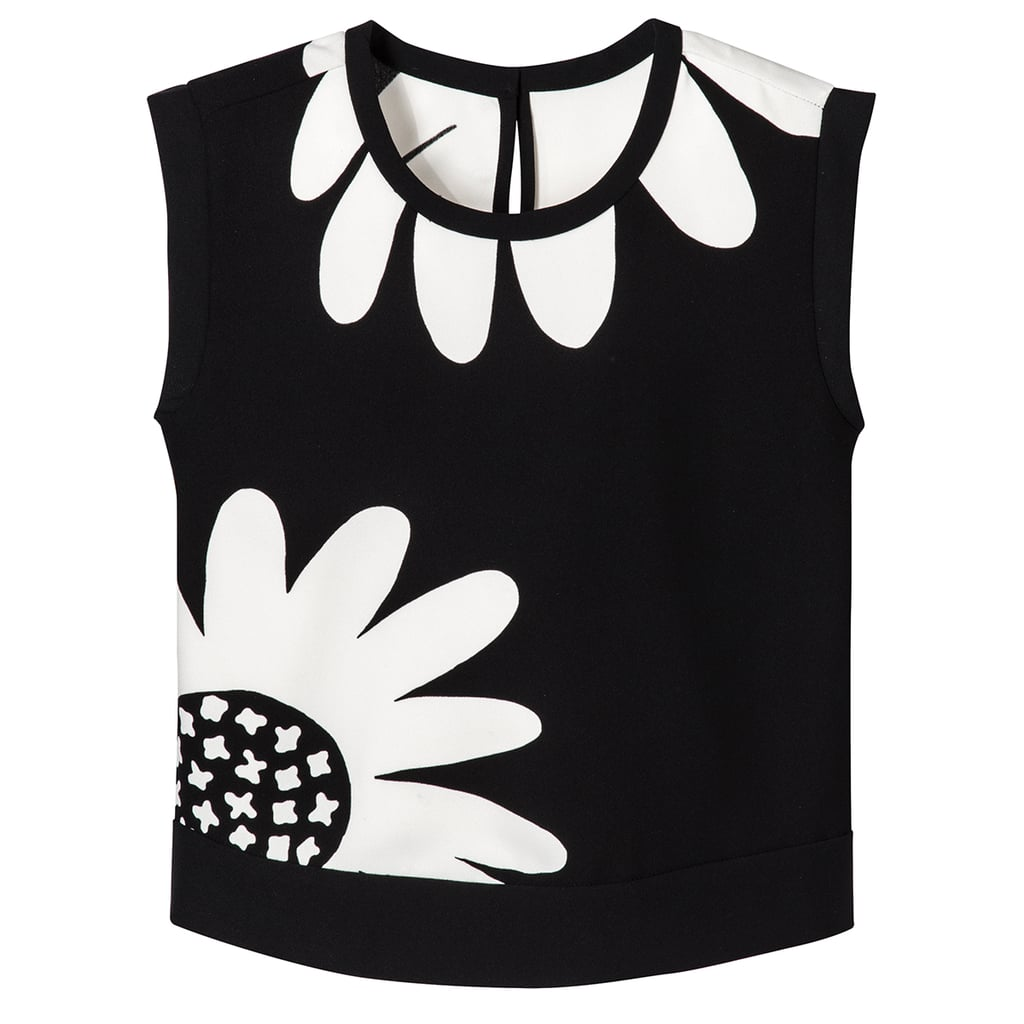 Girls' Black Oversized Daisy Printed Tank Top ($15)