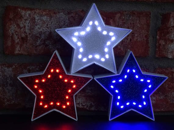4th of July Red White & Blue Lighted Decorative Stars