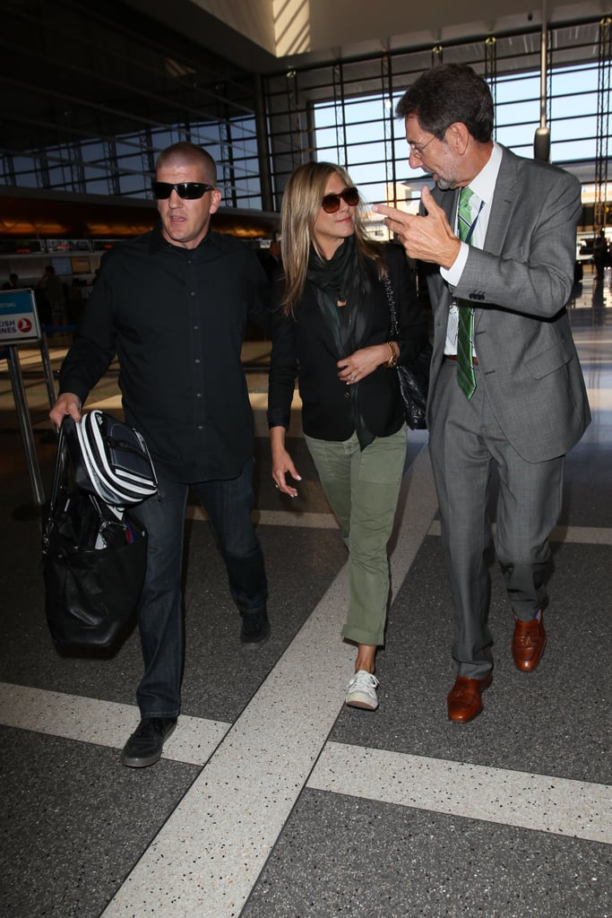 Jennifer Aniston chatted in the airport.