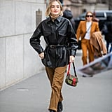 Winter Outfit Idea: A Belted Leather Jacket and Trousers
