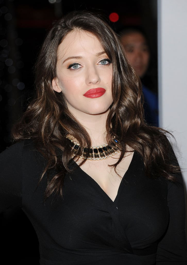 Kat Dennings had red lips at the People's Choice Awards.
