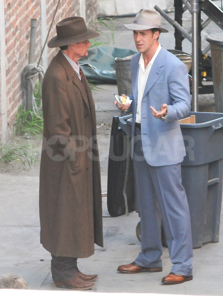 Ryan Gosling was back into character for The Gangster Squad in LA yesterday. He wore a baby-blue suit for his latest afternoon on set and was joined by another castmember for filming. Ryan's been working on the movie since last month and his leading lady, Emma Stone, has also made an appearance on location. Ryan and Emma showed PDA while the cameras were rolling, but Ryan and his real-life love interest shared their own sweet moment last month. Ryan and Eva Mendes hiked to Griffith Park Observatory and were also spotted touring Disneyland. Eva didn't show up on the red carpet with Ryan at last week's premiere of The Ides of March, although Ryan's costar George Clooney brought his girlfriend Stacy Keibler. We'll have to wait and see if George has Stacy by his side at a screening of the political drama tomorrow in NYC, where George will be promoting the movie without help from Ryan, who has to stay on the West Coast for work.