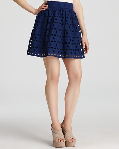 A shorter, sassier take on a full skirt, the eyelet material adds a refined, dressier touch.  Aqua Large Eyelet Skirt ($78)