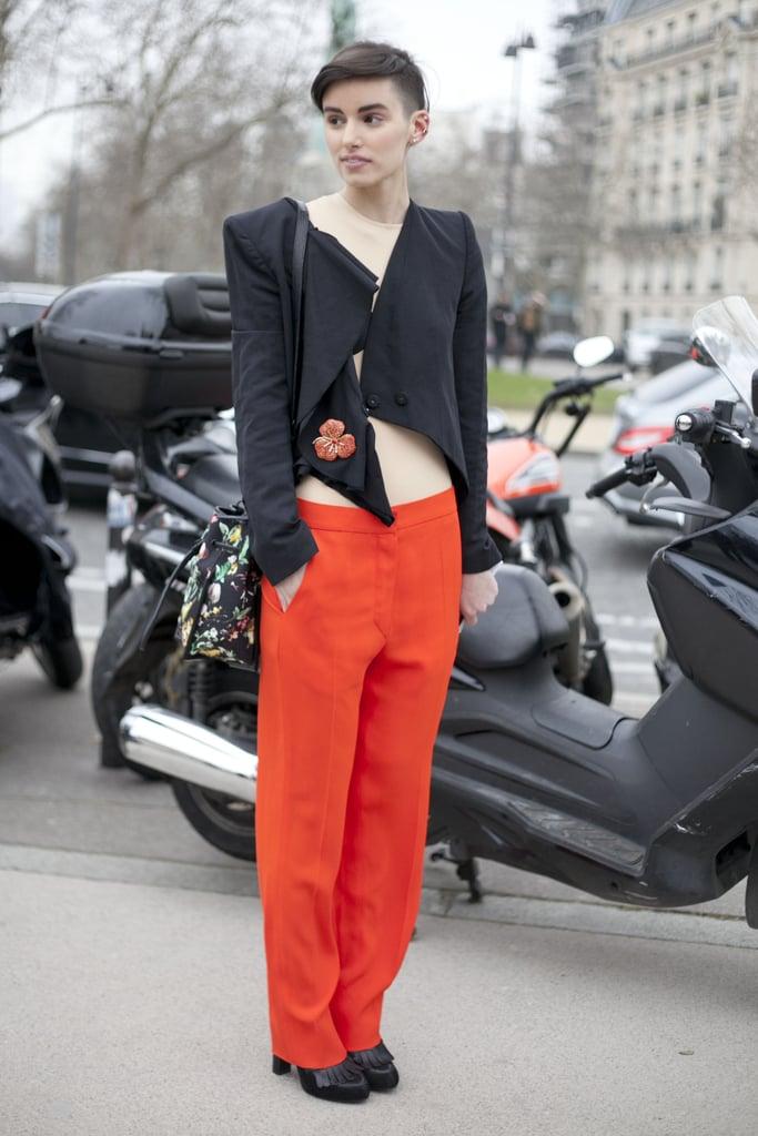 An angular jacket and bared midriff gave boyish trousers a high-fashion update.