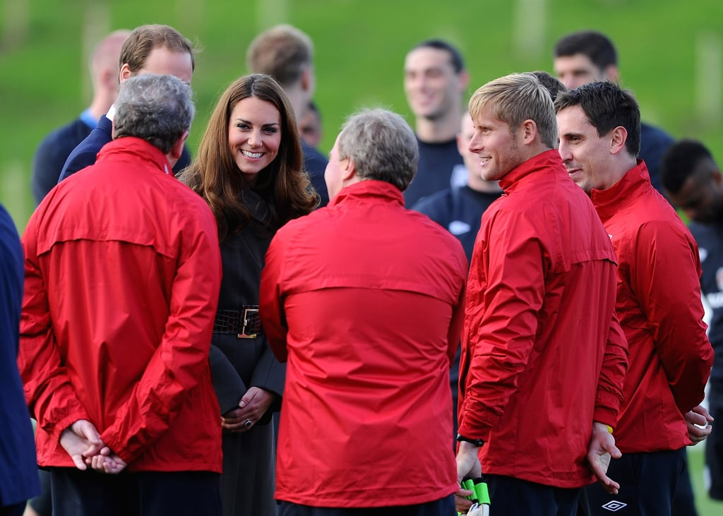 Kate Middleton and Prince William said hello to footballers.
