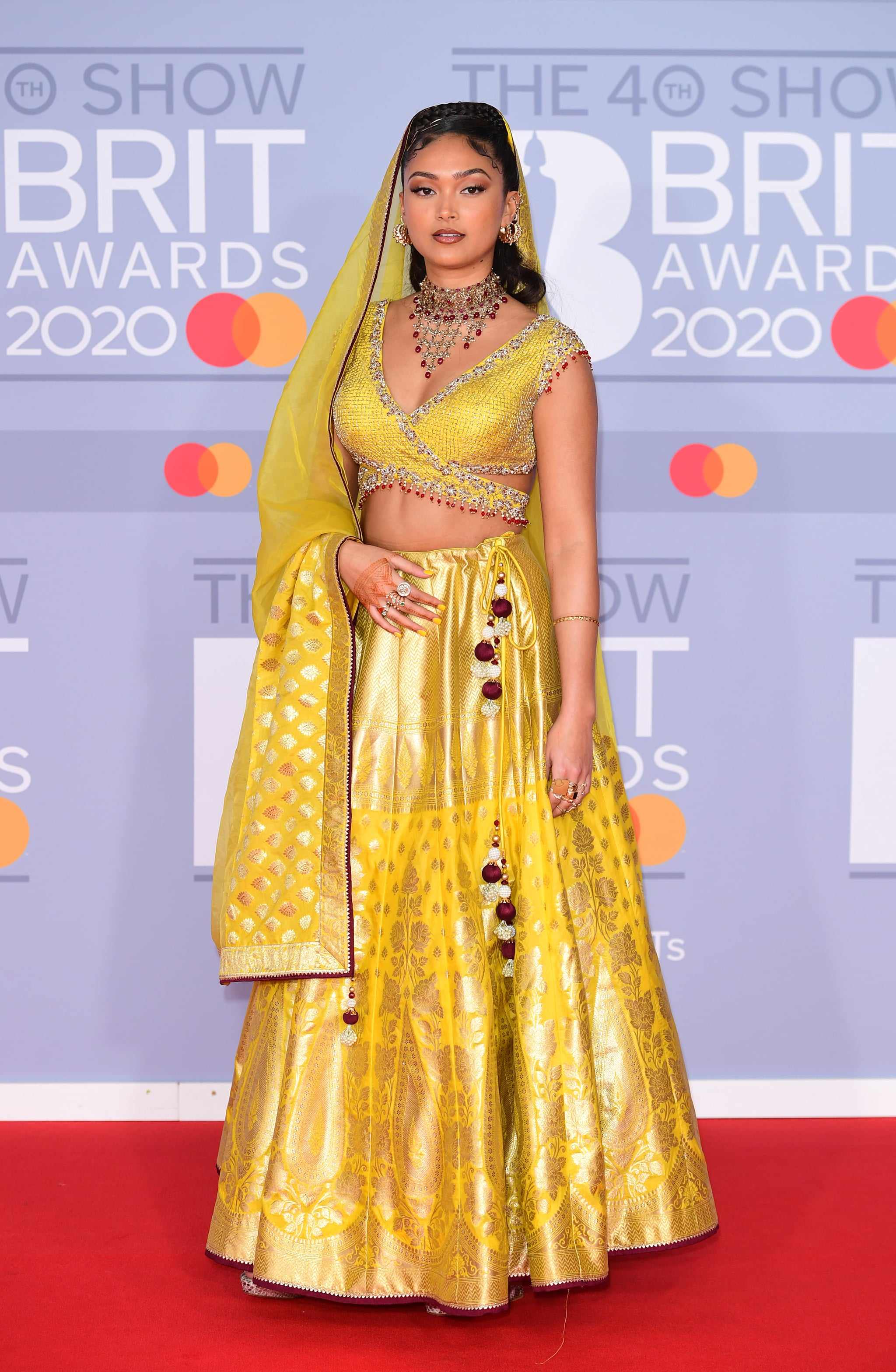 Joy Crookes arriving at the Brit Awards 2020 held at the O2 Arena, London. (Photo by Ian West/PA Images via Getty Images)