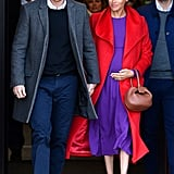 Meghan Markle Fall Outfit Idea: A Purple Dress and Red Trench