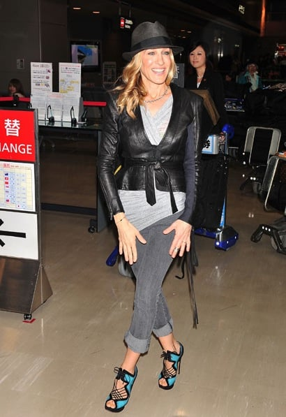 Sarah Jessica Parker arrived at Narita airport in Japan in major style. And look, she's sticking to her Nicholas Kirkwood sandals!
