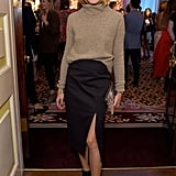 For the launch of Maison Makarem at London Fashion Week, Olivia perfected the art of sophisticated sexy dressing in a slit skirt and a poloneck.