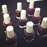 Essie nail polish in Carry On, Little Brown Dress, and Bordeaux. As seen at Costello Tagliapietra.