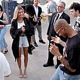 Hailey Baldwin in Shorts and Sheer Shirt With Justin Bieber