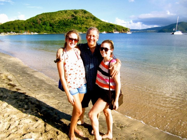 """There's nothing better than soaking up some beach time with your family, and here, we were sunning in St. Kitts over the holidays. I would describe my dad's style as preppy casual with a SoCal sensibility — think classic polos and plaid button-ups worn with khaki shorts and his favorite pair of go-to Reefs."" — Allison McNamara, FabSugarTV host"