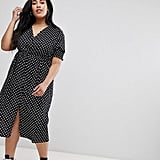 Influence Plus Shirred Sleeve Polka Dot Midi Dress