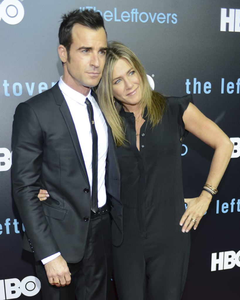 """Jennifer Aniston and Justin Theroux made their red carpet debut as a married couple at The Leftovers premiere in Austin, TX, on Saturday night. The pair flashed huge grins and kept close while posing for photos. Jennifer and Justin secretly tied the knot at a lavish bash at their Bel Air mansion in LA in August. Since then, Jennifer has gushed about married life, saying, """"It feels quite natural,"""" while Justin has revealed new wedding details and has said the sweetest things about tying the knot with Jen. Keep reading to see more moments from their big night out!"""