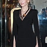 Cate Blanchett lends eclectic glamour to her black McQueen gown with Van Cleef & Arpels jewels.