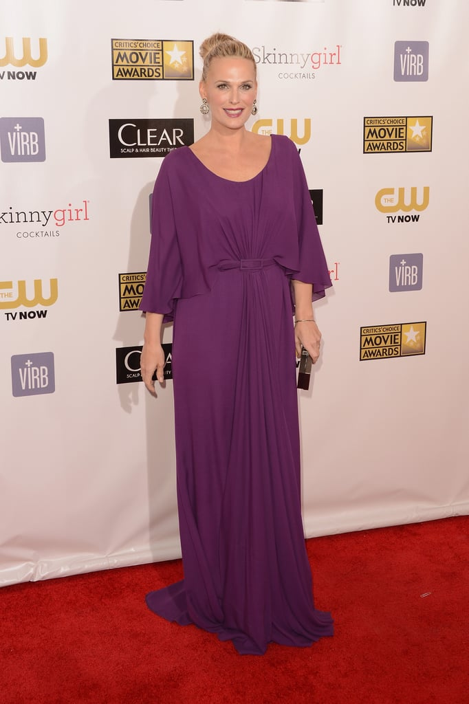 Molly Sims sported a purple gown on the red carpet.