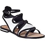 Rebecca Minkoff Simon black and white flat sandals ($160, originally $225)