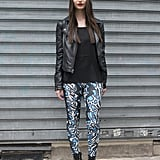 Stand out from the pack like this showgoer with patterned skinnies.
