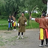 Archery competitions are common among locals in Bhutan. Garfors says the archers shoot at targets over 100 meters away.