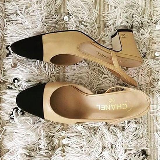 Trend: Chanel Kontrast-farbener Sling-Back Schuh